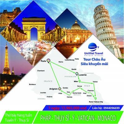 TOUR -PHÁP- THỤY SĨ - Ý - VATICAN - MONACO